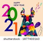 happy new year 2021 concept... | Shutterstock .eps vector #1877403163