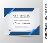 elegant blue and white diploma... | Shutterstock .eps vector #1877485546