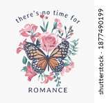 romance slogan with butterfly... | Shutterstock .eps vector #1877490199