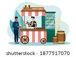 male customer is getting draft... | Shutterstock .eps vector #1877517070