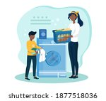 mother teaches son how to wash... | Shutterstock .eps vector #1877518036