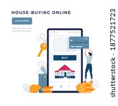 house buying online banner. man ... | Shutterstock .eps vector #1877521723
