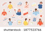 set of stickers with people ... | Shutterstock .eps vector #1877523766