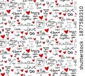 love lettering doodle seamless...   Shutterstock .eps vector #1877583310