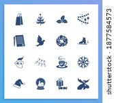 holiday icon set and snow globe ...