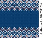 knitwear texture. template with ... | Shutterstock .eps vector #1877608786