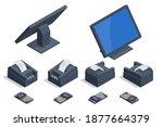 isometric set of shop cash... | Shutterstock .eps vector #1877664379