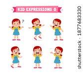 cute little kid girl in various ...   Shutterstock .eps vector #1877683330