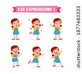 cute little kid girl in various ... | Shutterstock .eps vector #1877683333