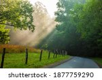 Light Rays On A Road In The...