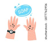 washing hands with soap.... | Shutterstock .eps vector #1877762956
