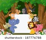 cartoon wild animal holding... | Shutterstock . vector #187776788