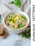 millet soup with salmon and... | Shutterstock . vector #187778963