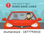 driving a red sedan car. the... | Shutterstock .eps vector #1877793010