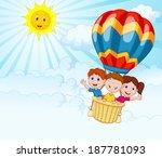 Happy Kids Riding A Hot Air...