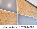 wooden wardrobe door panels... | Shutterstock . vector #1877816206