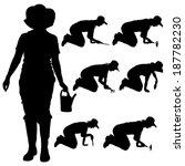 vector silhouette of a gardener ... | Shutterstock .eps vector #187782230