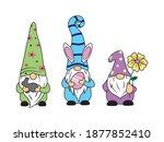 set of little easter gnomes.... | Shutterstock .eps vector #1877852410