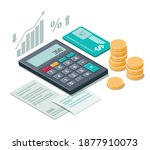 calculator  coins and cash... | Shutterstock .eps vector #1877910073