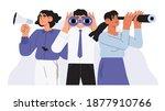 man with binoculars  women with ... | Shutterstock .eps vector #1877910766