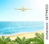 plane fly above the palms on... | Shutterstock . vector #187798523