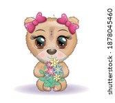 cute cartoon bear with big eyes ...   Shutterstock .eps vector #1878045460