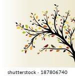 bird sitting on tree.  vector... | Shutterstock .eps vector #187806740