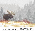 moose silhouette in fall snow... | Shutterstock .eps vector #1878071656