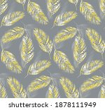 tropical palm leaves seamless... | Shutterstock .eps vector #1878111949