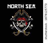 illustration of skull pirates... | Shutterstock .eps vector #1878125773