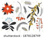 winter floral set. collection... | Shutterstock .eps vector #1878128749