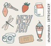 hand drawn set of random... | Shutterstock .eps vector #1878141619