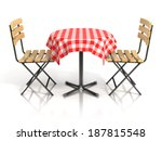 Table And Two Chairs On White...