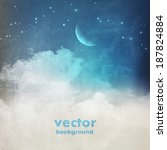 clouds on a textured vintage... | Shutterstock .eps vector #187824884