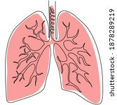 single continuous line of lungs....   Shutterstock .eps vector #1878289219