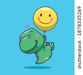 cute dinosaur floating with... | Shutterstock .eps vector #1878335269