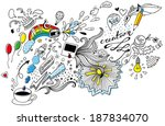 funny doodles from one cup of... | Shutterstock .eps vector #187834070