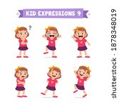 cute little kid girl in various ... | Shutterstock .eps vector #1878348019