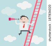 businessman gets a better view... | Shutterstock .eps vector #187836020