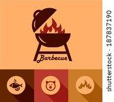 illustration of grill in flat... | Shutterstock .eps vector #187837190