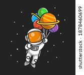 cute astronaut flying with... | Shutterstock .eps vector #1878460699
