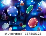 poker chips falling with...   Shutterstock . vector #187860128