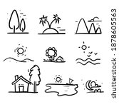 hand drawn doodle icons of...   Shutterstock .eps vector #1878605563