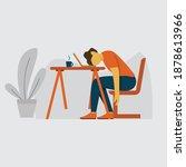 vector illustration. tired man...