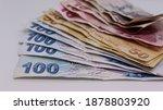 Turkish Lira Banknotes Money....