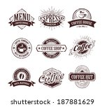 retro styled coffee stamps... | Shutterstock .eps vector #187881629
