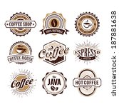 retro styled coffee emblems... | Shutterstock .eps vector #187881638