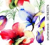 seamless pattern with summer... | Shutterstock . vector #187882076