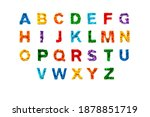 Small photo of Khabarovsk, Russia, November 17, 2020. Flat lay colourful abc alphabet letters made from the construction blocks of the Lego constructor on white isolated background. Letter mosaic with lego brick.