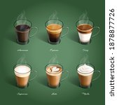 set of hot coffee americano ... | Shutterstock .eps vector #1878877726